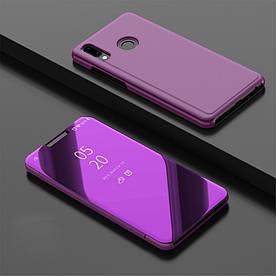 Чехол книжка для Huawei Y9 2019 боковой с зеркальной крышкой, фиолетовый