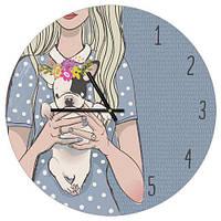 Настенные часы круглые Девочка с щенком 36 см (CHR_P_DOG007)