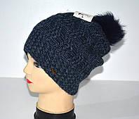Зимняя шапка женская на девушку 52-54 помпон