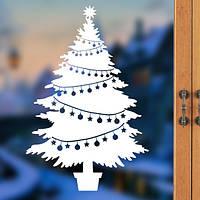 Новогодняя наклейка - елка на окно (цена за размер 40х26 см)