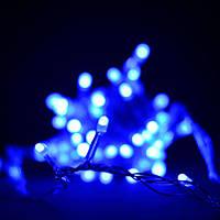 Белая гирлянда с синими лампочками на 100 штук. Новогоднее украшение.