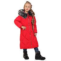Детское зимнее пальто для девочки 19KRASNOYE  140, 150 см Красное
