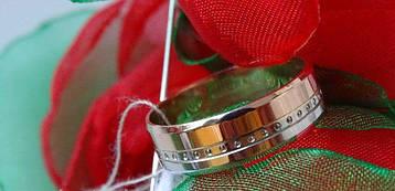Золотое обручальное кольцо с белым золотом