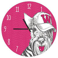 Настенные часы круглые Гламурная собачка 36 см розовые (CHR_P_DOG002)