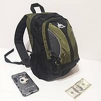 Качественный детский городской рюкзак Onepolar 1297 18 литров небольшой черно-зеленый