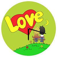 Настенные часы круглые Love is 36 см зеленые (CHR_O_17LV003)