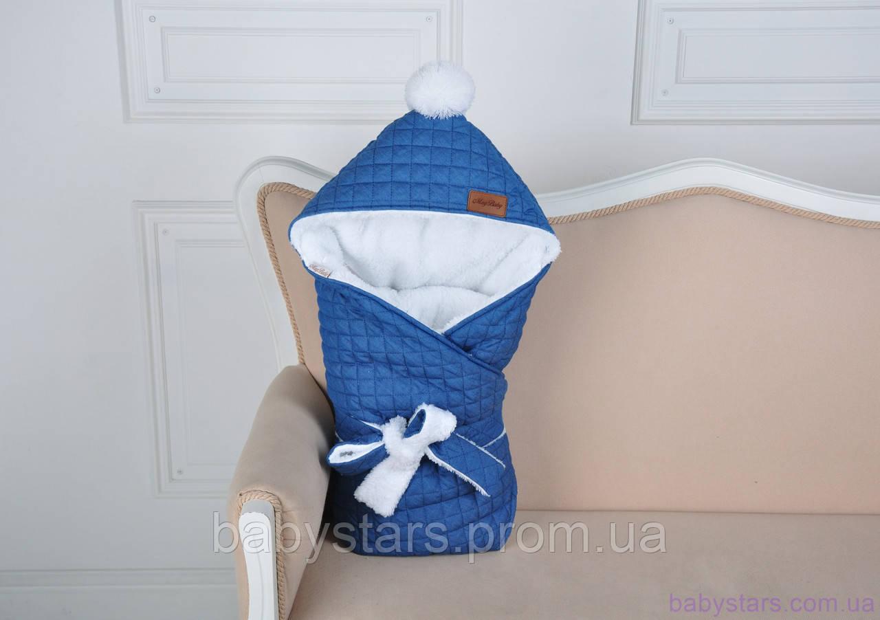 Стеганый зимний конверт, джинсовый на махре