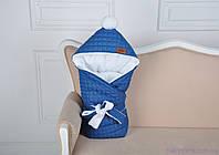 Стеганый зимний конверт, джинсовый на махре, фото 1