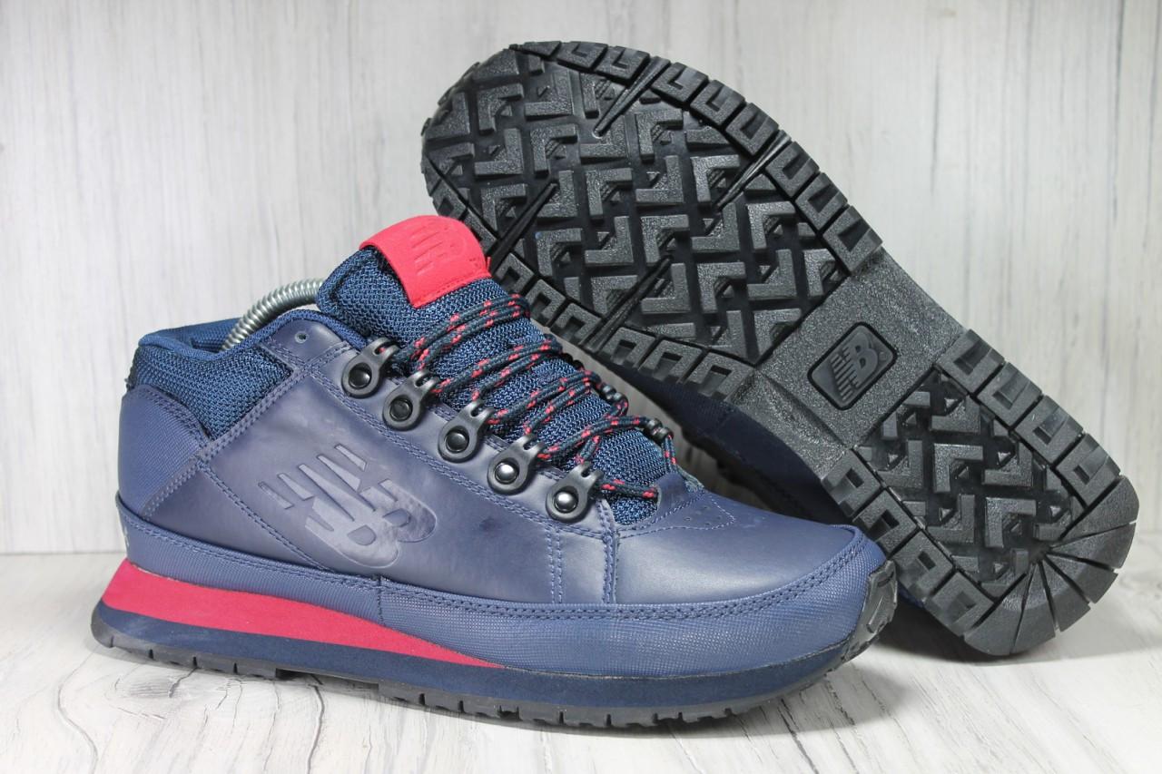 Демисезонные мужские ботинки синие New Balance 754 натуральная кожа