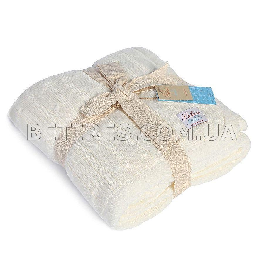 Плед дитячий в'язаний з хутром 80x110 BETIRES LOVELY ECRU (100% акрил) молочний