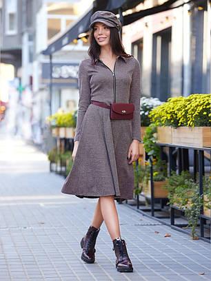 (S, M, L, XL) Жіноче класичне темно-бузкове плаття-міді Fiord