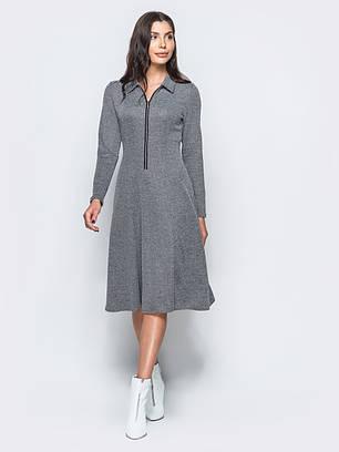 (S, M, L, XL) Жіноче класичне сіре плаття-міді Fiord