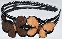 Обруч для волос, черный пластик, бабочки, цвета в ассортименте, ширина 25 мм (6 шт), фото 1