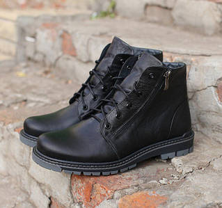 Мужские зимние ботинки Timberland натуральная кожа черные. В Украине!