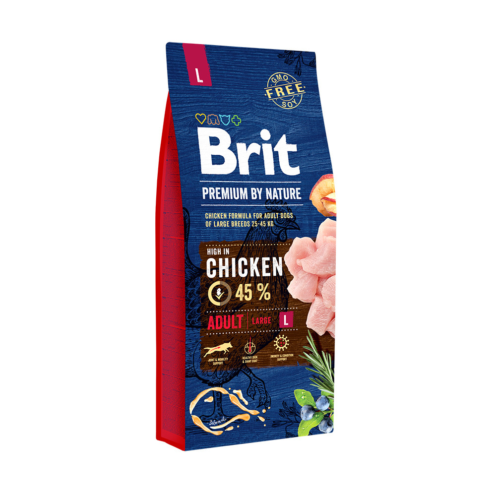 Сухой корм для взрослых собак крупных пород Brit Premium Dog Adult L / 15 кг