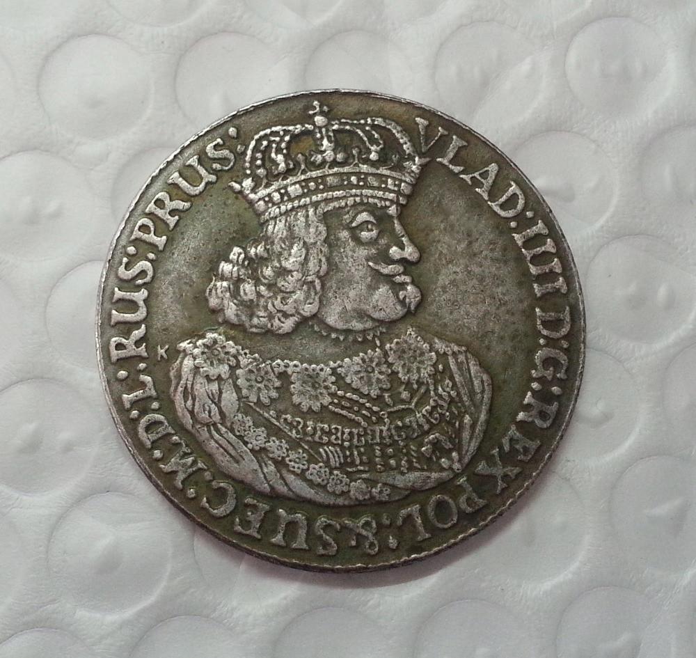 Монета 1648 года Владислав 4 Польша,  в серебре №506 копия