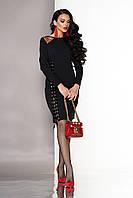 """Нарядное облегающее платье до колен со шнуровкой сбоку и длинными рукавами """"А-123"""" черное"""
