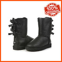 Кожаные женские угги UGG Bailey Bow Metallic Black Оригинал