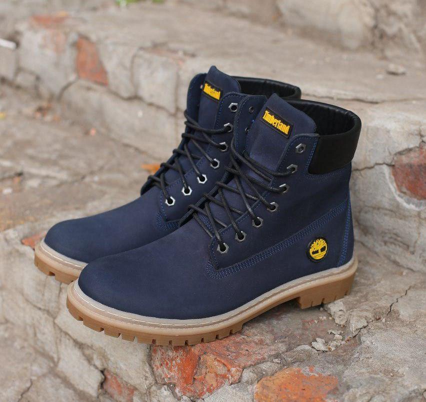 Зимние ботинки Timberland натуральная кожа темно синие. В Украине!
