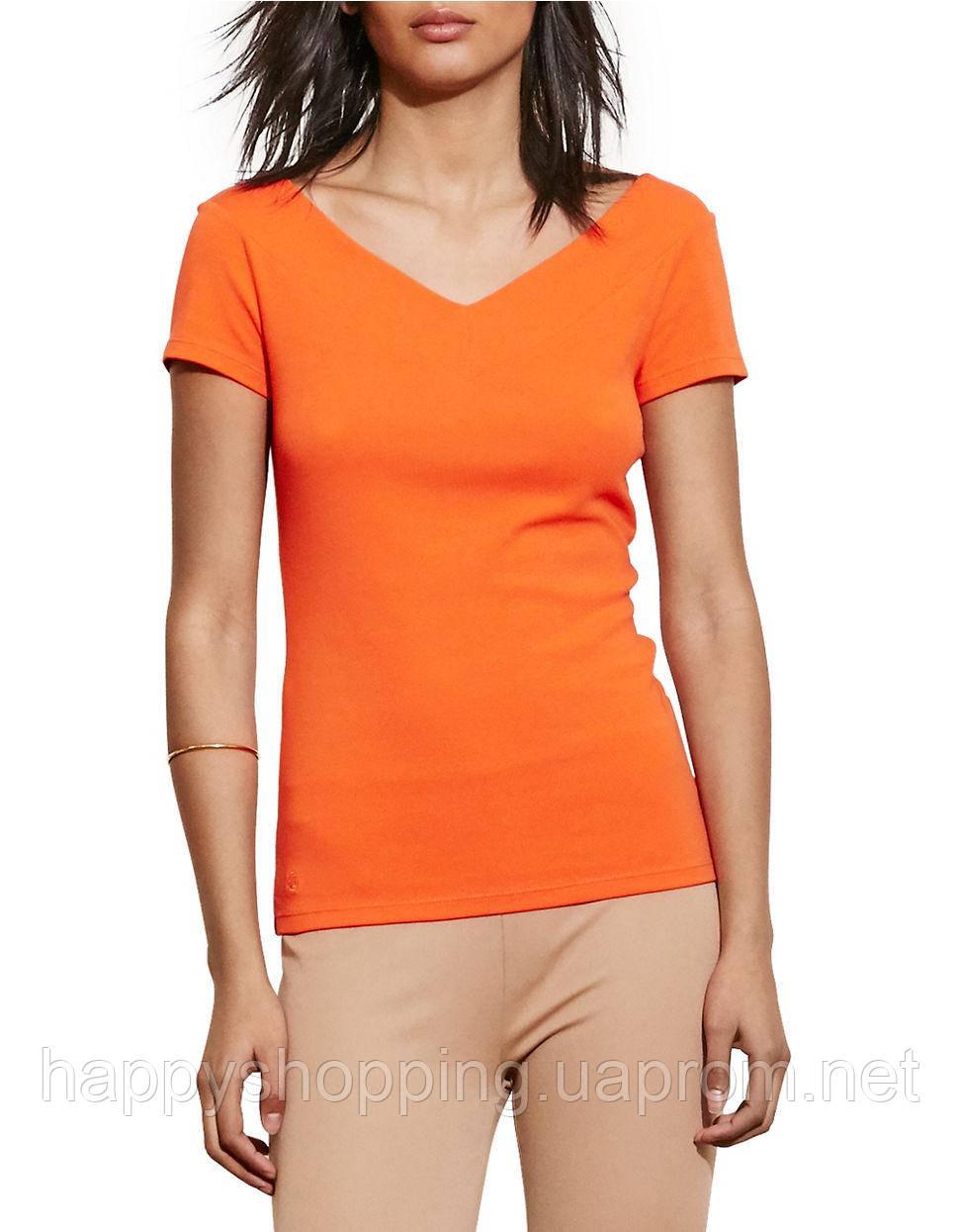 Женская оранжевая футболка Ralph Lauren