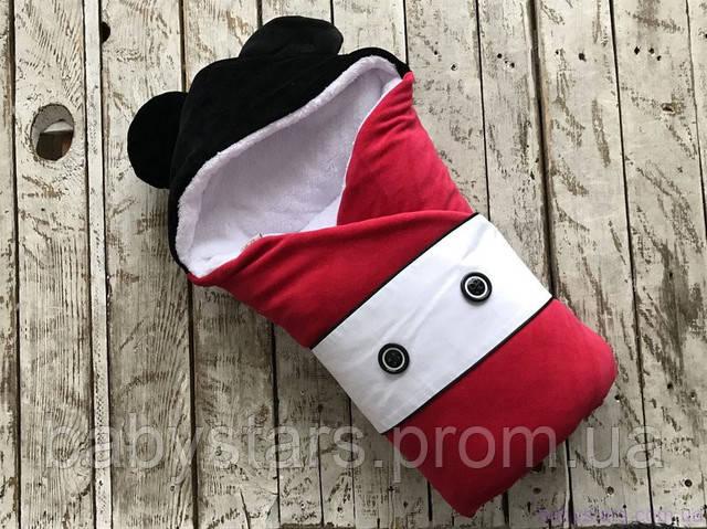 """Зимний конверт """"Микки Маус"""" на махре для новорожденного"""