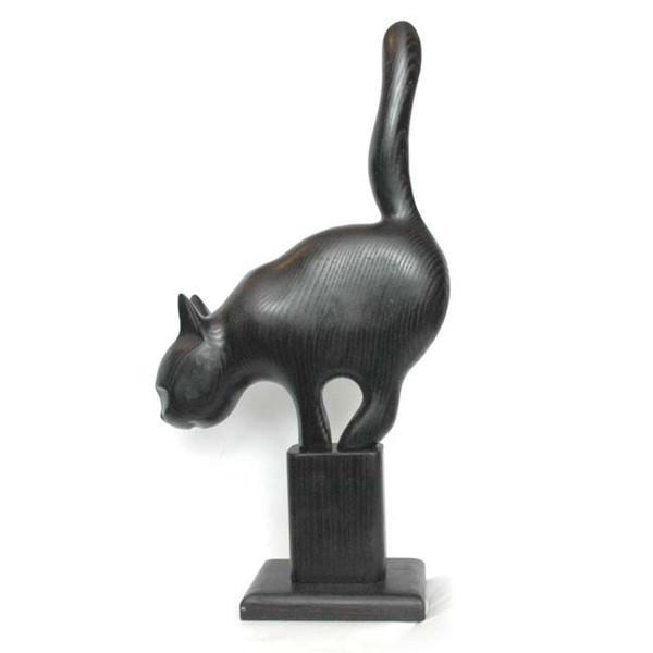 """Деревянная статуэтка """"Кот охотящийся"""" Черный"""