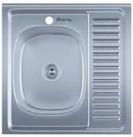 Мойка для кухни накладная квадрат левая 600 х 600 x 175/180 IMPERIAL 0,8 декор