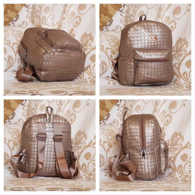 Женский рюкзак золотой Плетёный