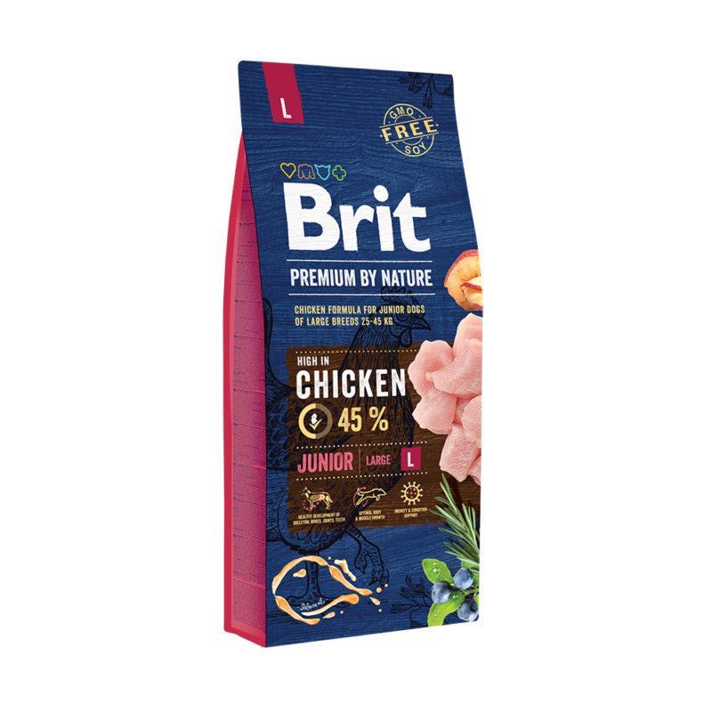 Корм для щенков Brit Premium Dog Junior L 15 кг, брит для щенков и юниоров крупных пород собак