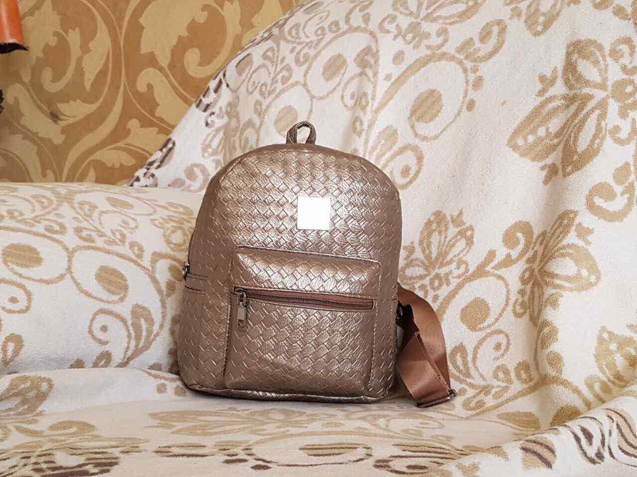 Женский рюкзак Городской Золотой. С плетёным рисунком