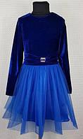 Нарядное платье на девочку Белоснежка р.134-152 электрик (сетка)