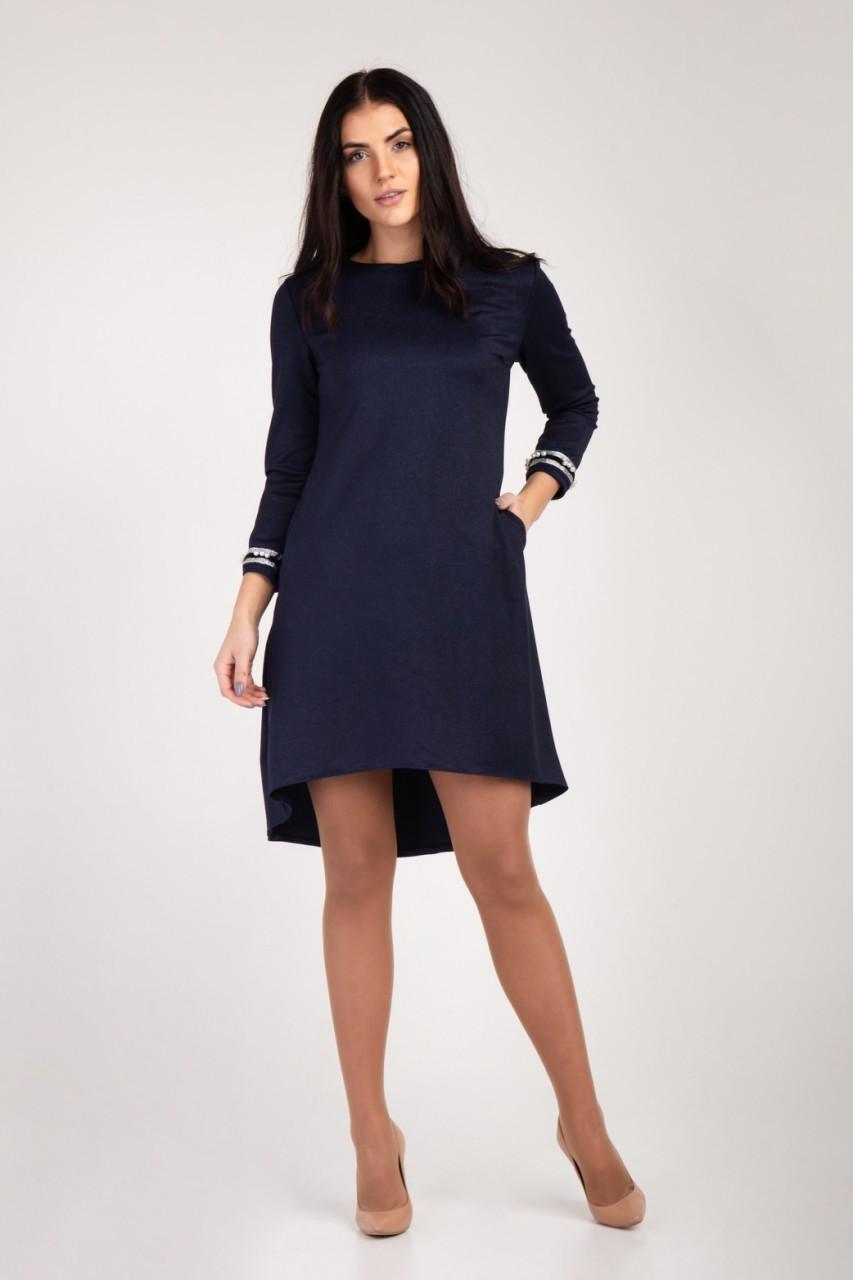 Платье свободного кроя с украшением на рукавах   Размерный ряд 46 48 50 52