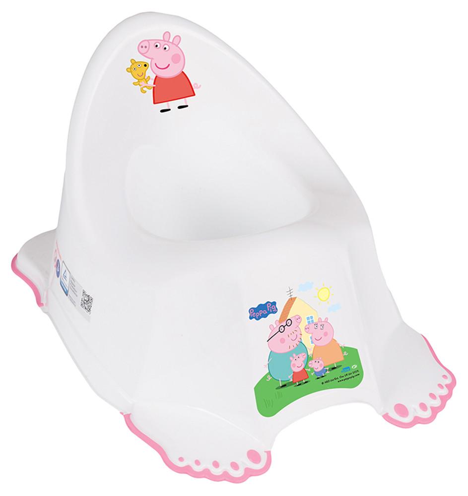 Горшок Tega Peppa Pig PO-066  with music нескользящий 103-R white-pink