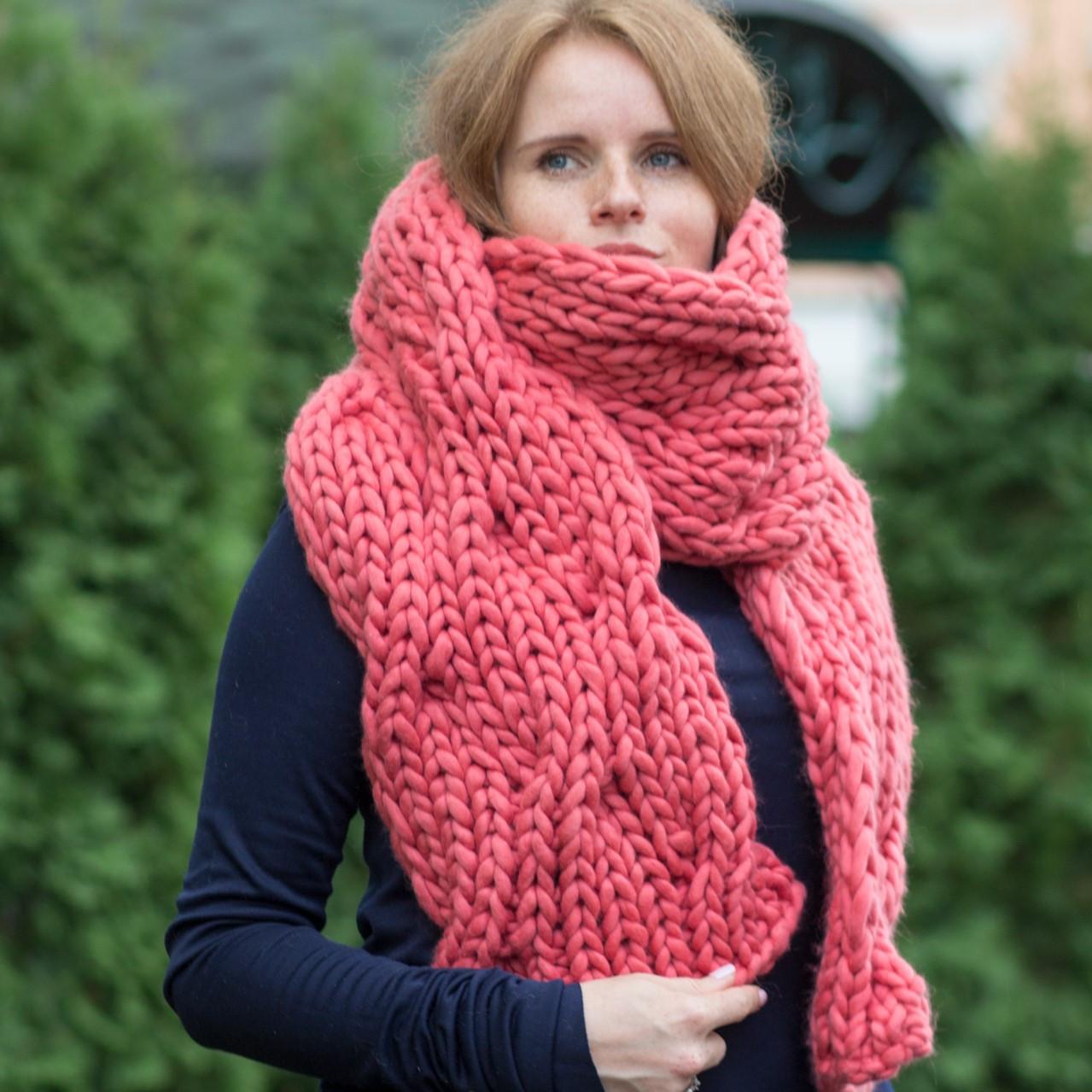 вязаный шарф Waves 100 мериносовая шерсть италия 45 цветов