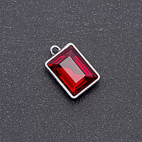 Кулон с красным кристаллом 17х12х19мм