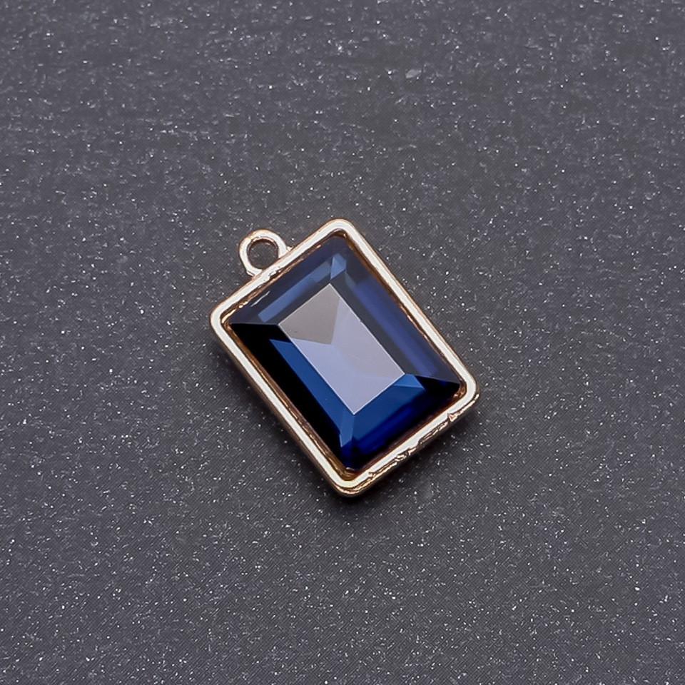 Кулон с синим кристаллом 17х12х19мм