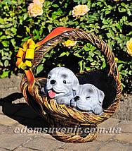 Садовая фигура подставка для цветов Корзина сюрприз и Корзина с котенком, фото 3