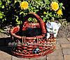 Садовая фигура подставка для цветов Корзина сюрприз и Корзина с котенком, фото 2