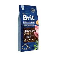 Brit Premium Light 15 кг, брит для собак склонных к полноте (с индейкой)
