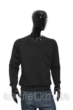 Світшот чоловічий чорний трехнить без начісування світшот, Полуприлегающий, S, фото 2