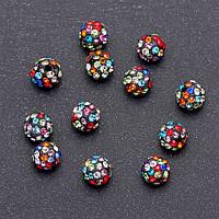 Бусина Шамбала черная в разноцветных стразах d-8мм фас.12 шт.