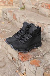 Мужские зимние ботинки  натуральная кожа черные. В Украине!