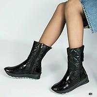 Женские зимние  кожаные черные сапоги дутики