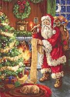 """Набір для вишивки хрестиком """"Дід Мороз-Санта Клаус"""" 30х41см (Aida 18 """"Zweigart"""")"""