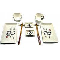 """Набор посуды, сервиз керамический для суши и роллов  """"Драконы"""" (2 персоны)(29,5х25,5х5,5 см)"""