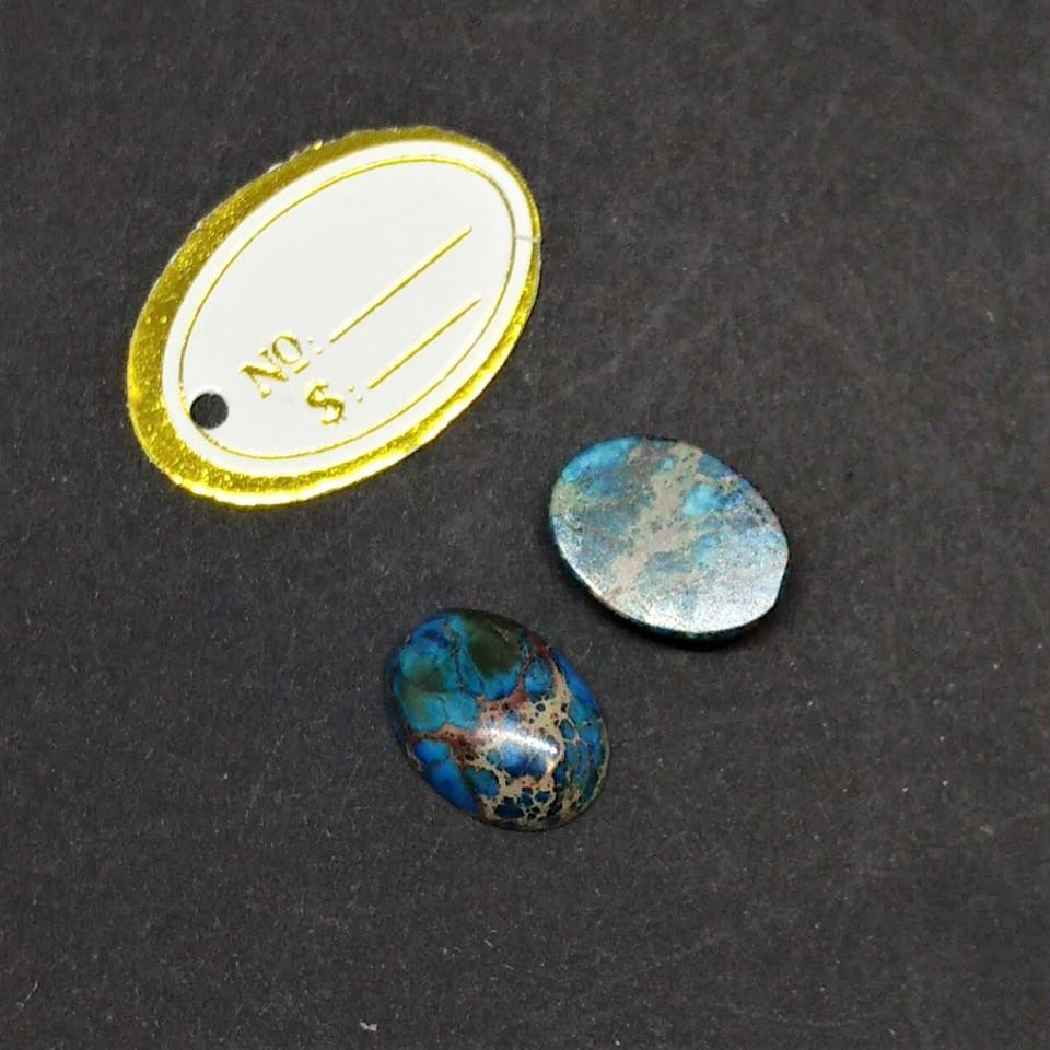 Кабошон из натурального камня Варисцит голубой d-8х10мм
