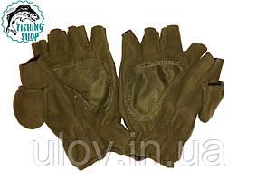 Перчатки флисовые с откидной варежкой (олива)