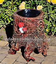Садовая фигура подставка для цветов Пенек с грибами и Пенек сказочный, фото 2