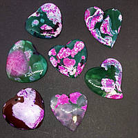 Кулон Сердце зеленый Агат с розовым принтом +-4х3см