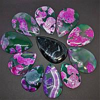 Кулон Капля зеленый Агат с розовым принтом +-4х3см